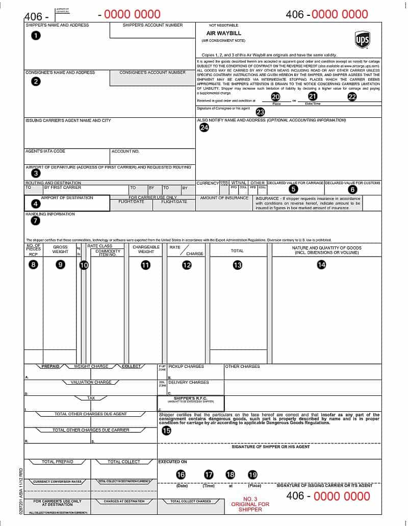 Free Air Waybill Template And Airway Bill Dhl Template