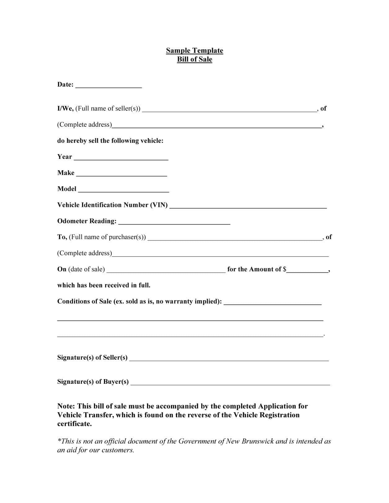 Free Bill Of Sales Template For Used Car As Is And Motorcycle Bill Of Sale