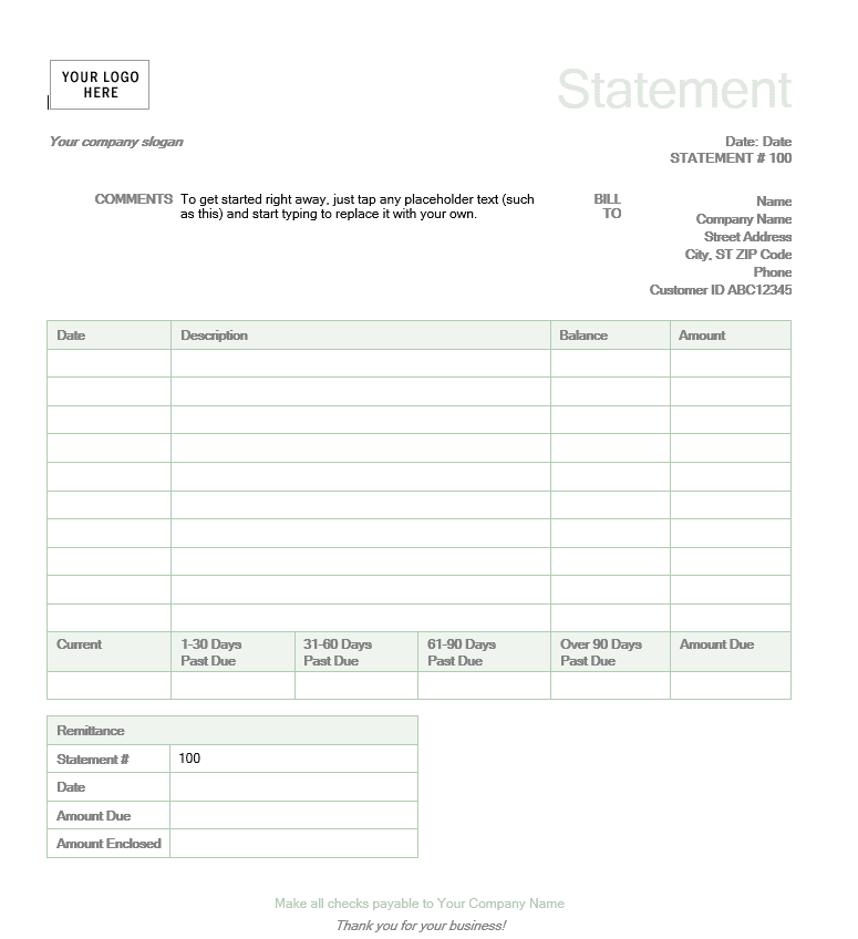 Free Billing Statement Template And Free Sample Billing Statement Template