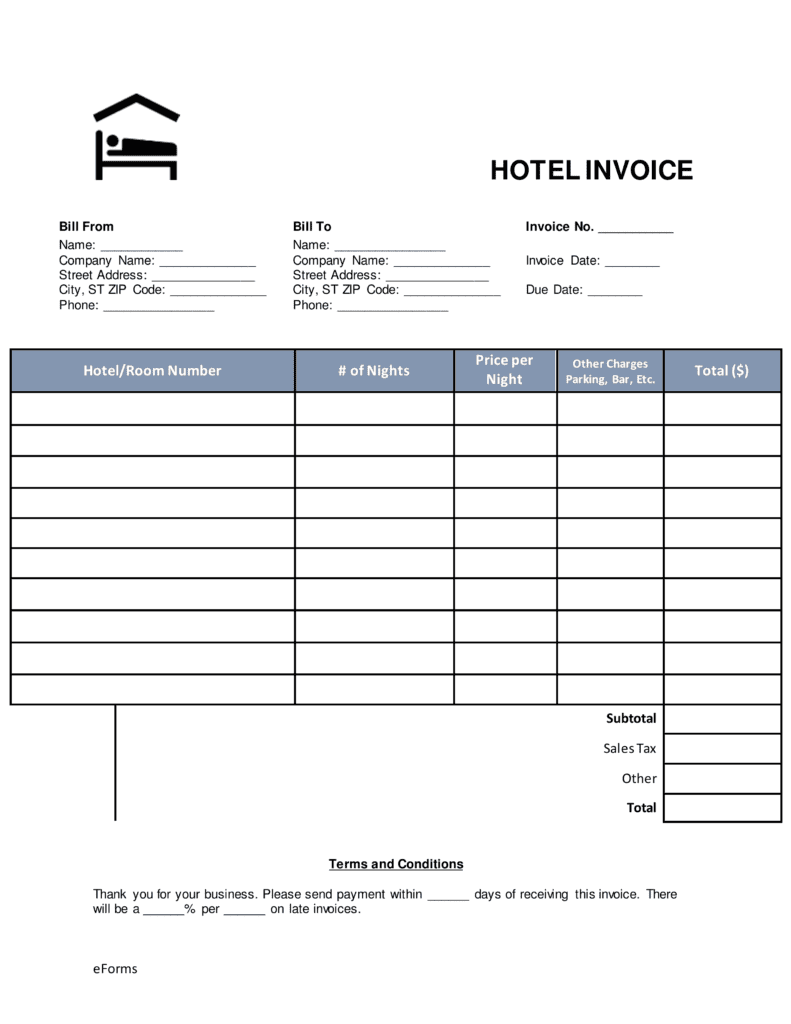Hotel Bill Template And Hotel Bill Template In Word