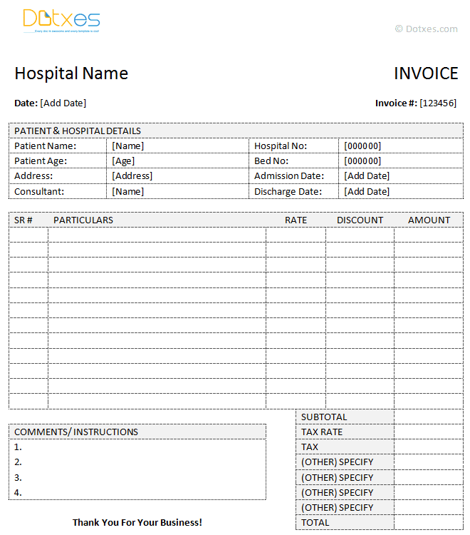 Medical Bill Invoice Template And Hospital Bill Template Free
