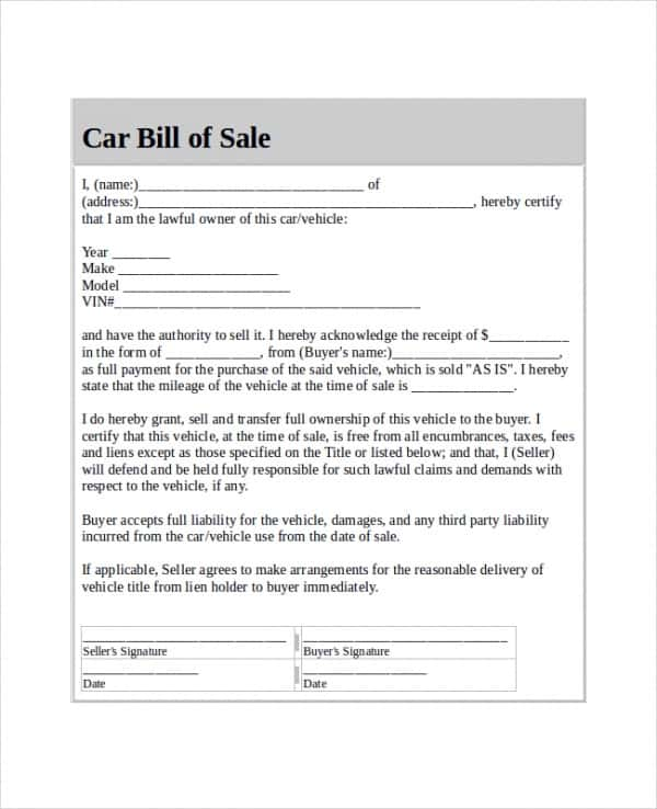 Sample Motor Vehicle Bill Of Sale And Example Vehicle Bill Of Sale And Promissory Note