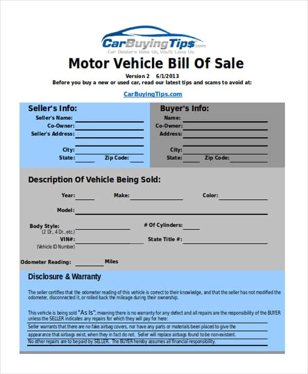 Sample Vehicle Bill Of Sale Pdf And Sample Vehicle Bill Of Sale Illinois