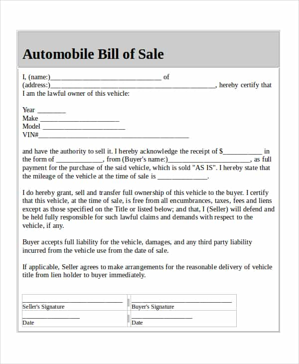 Writing A Bill Of Sale For A Vehicle And Writing Up A Bill Of Sale For A Vehicle