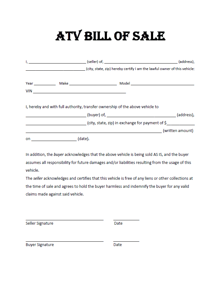 Bill of sale document for atv and atv bill of sale florida