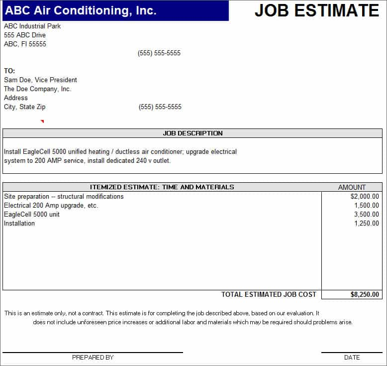 Construction estimating spreadsheet and free printable job estimate form