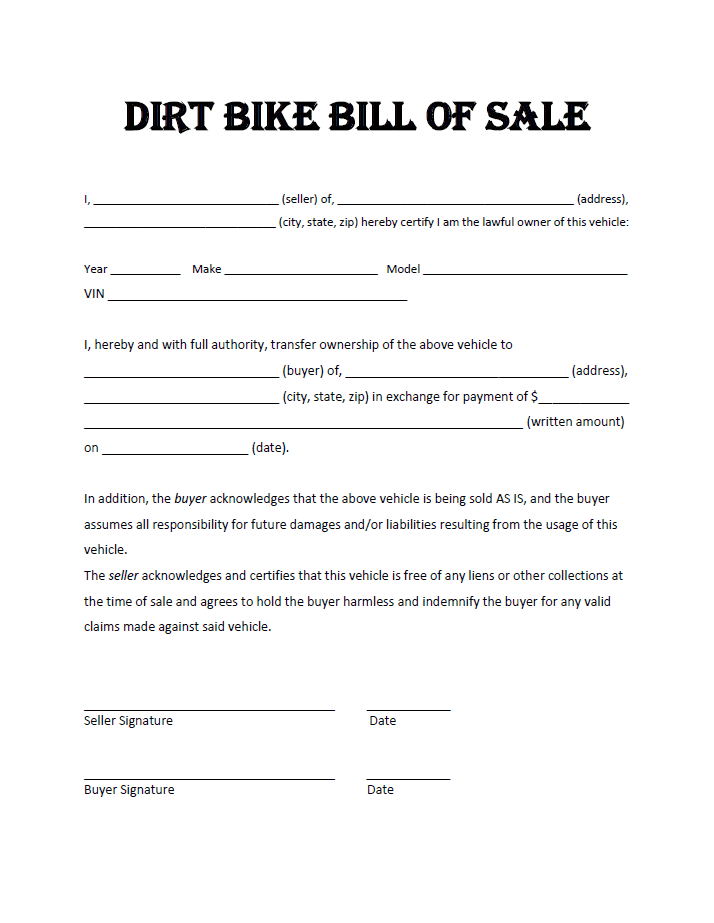 Free bill of sale template for atv and boat and trailer bill of sale printable