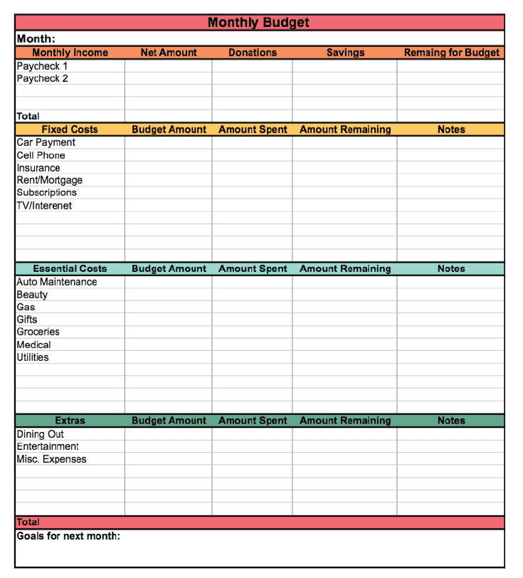 Free monthly budget templates printable and printable weekly budget planner