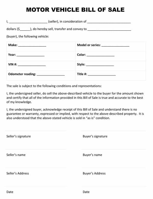 Texas personal property bill of sale template