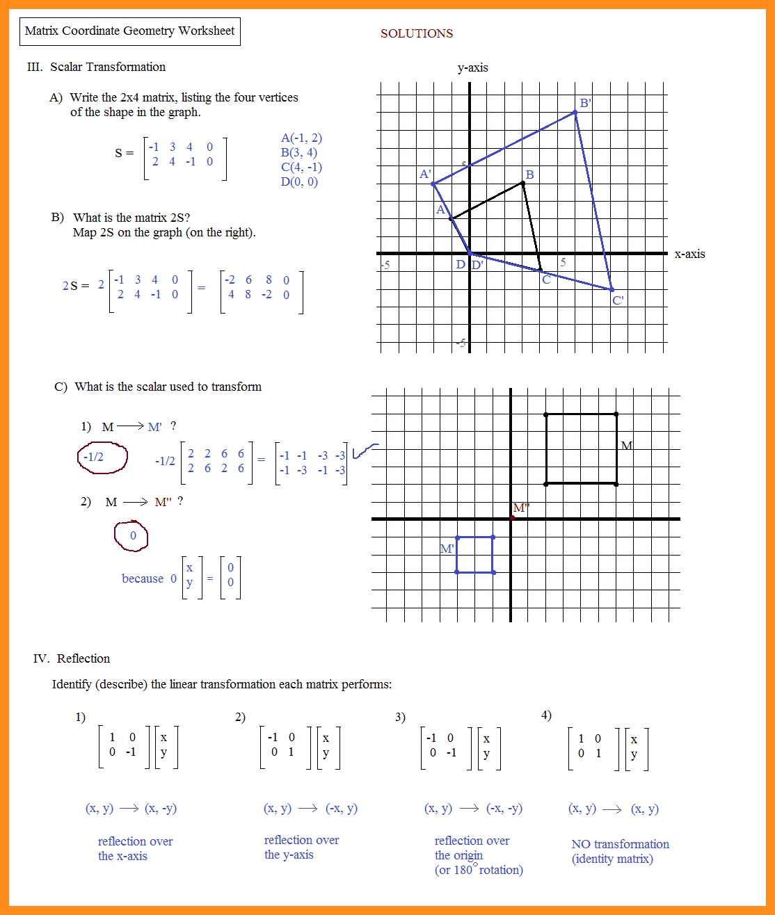 Analytic Geometry Grade 10 Notes And 8Th Grade Geometry Worksheets