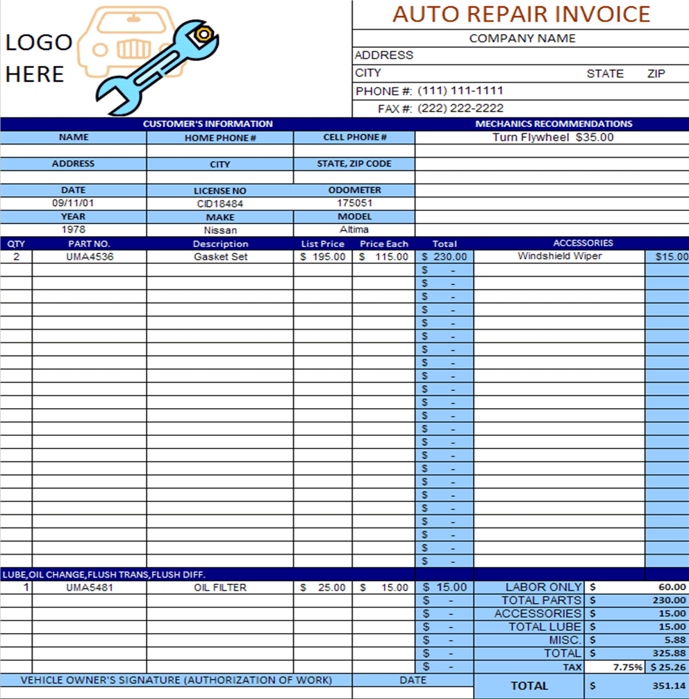 Auto repair shop invoice sample and auto repair invoice software free download
