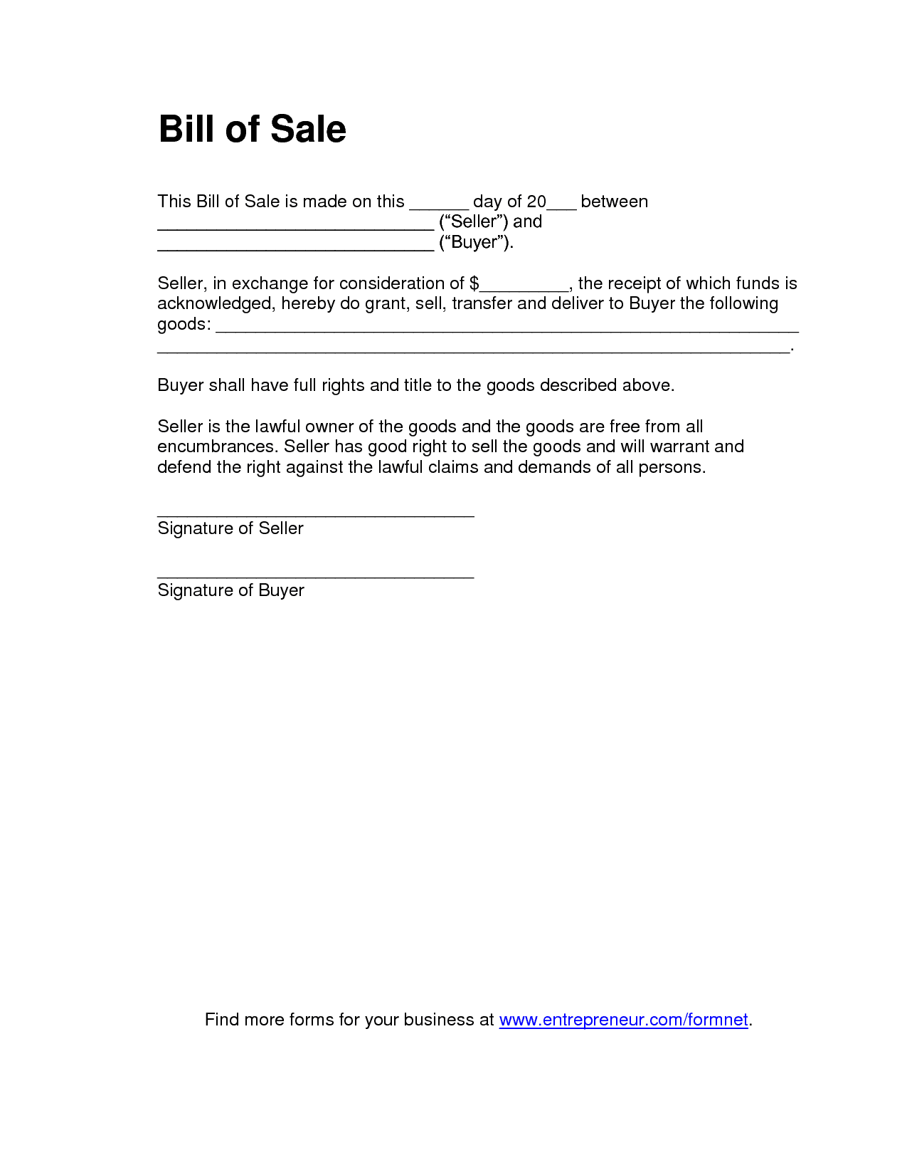 Bill Of Sale For Business Purchase And Bill Of Sales Template Free