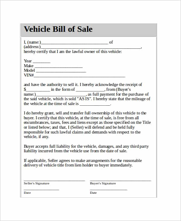 Bill Of Sale Template For Car As Is And Car Bill Of Sale Template Texas
