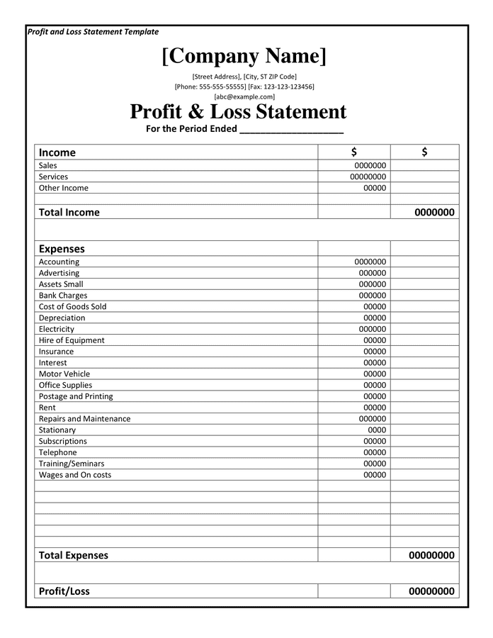 Example Of A Profit And Loss Statement For A Small Business And Profit And Loss Template For Small Business