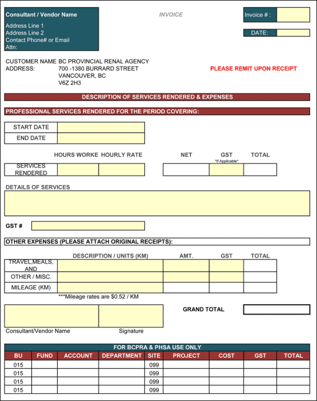 Free Construction Invoice Forms And Excel Invoice Template Free