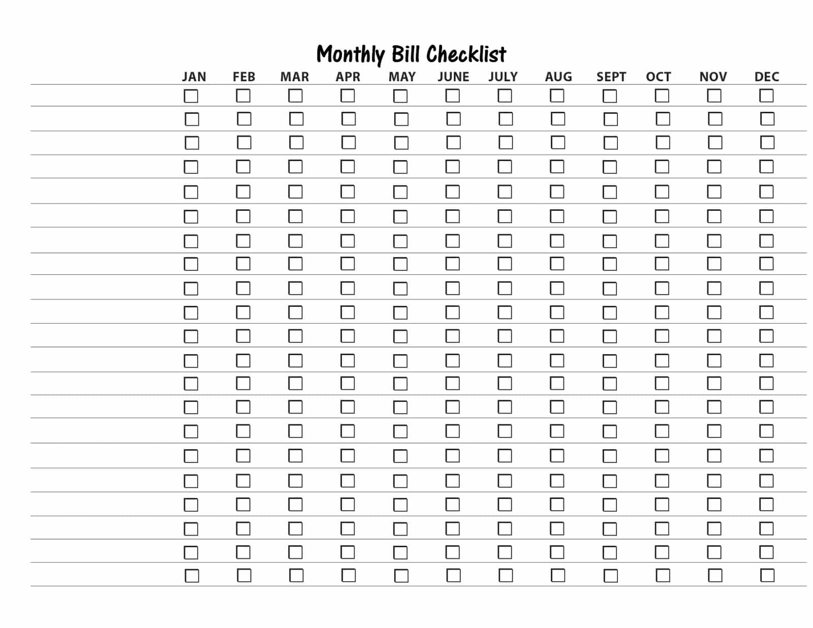 Free printable bill payment list and bill payment checklist pdf