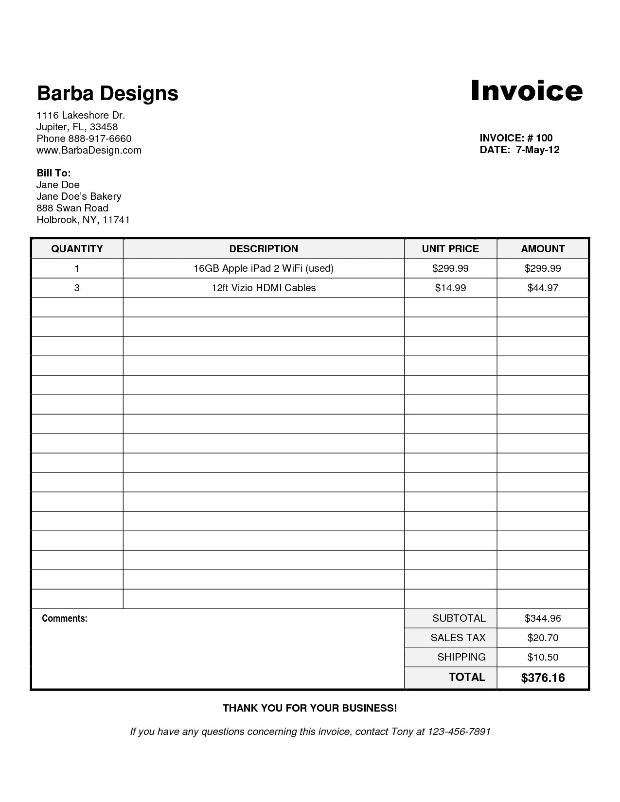Free Sample Invoices Online And Free Sample Of Business Invoice