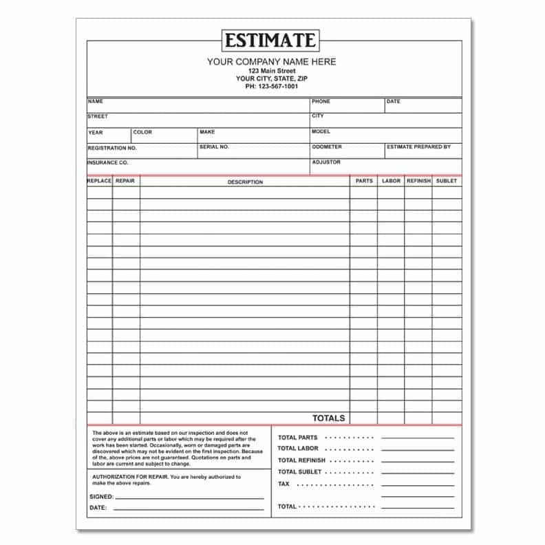 Home repair estimate form free and free automotive repair forms templates