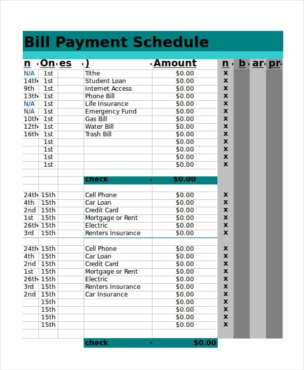 Monthly Bill Spreadsheet Template Free And Spreadsheets For Tracking Payments