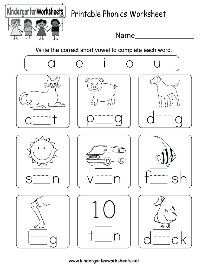 Phonics Worksheets For Kindergarten Vowels And A E I O U Worksheets For Kindergarten