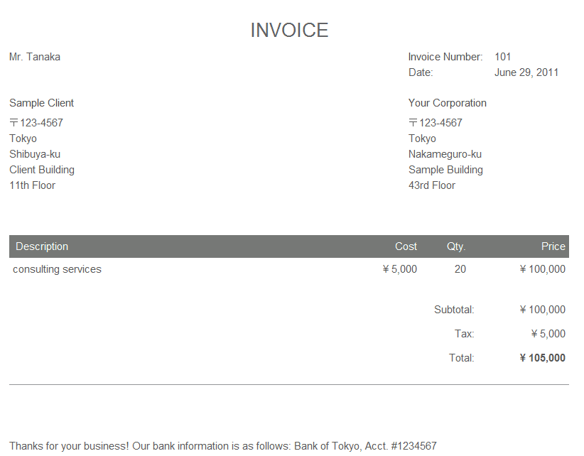 Samples Of Tax Invoices For Services And Sample Receipt For Photography Services