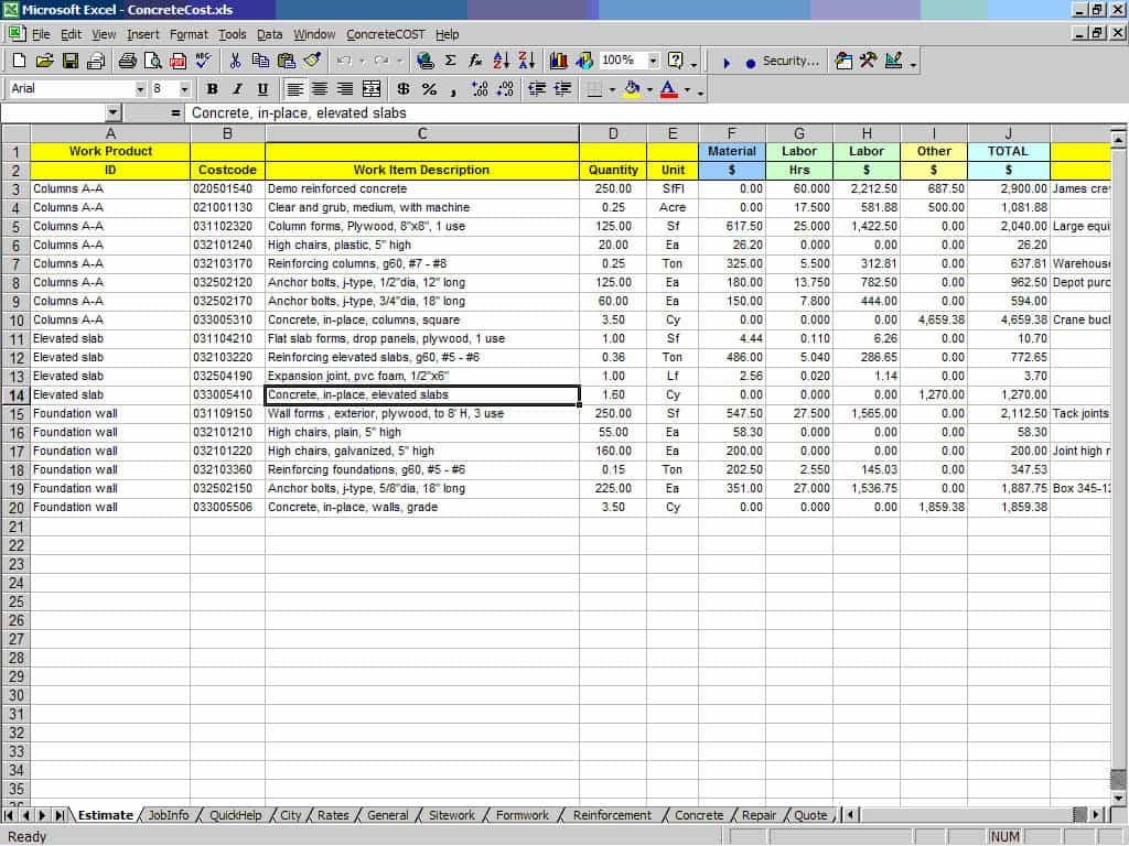 Contractor Estimate Template Excel And Free Estimate Forms For Contractors