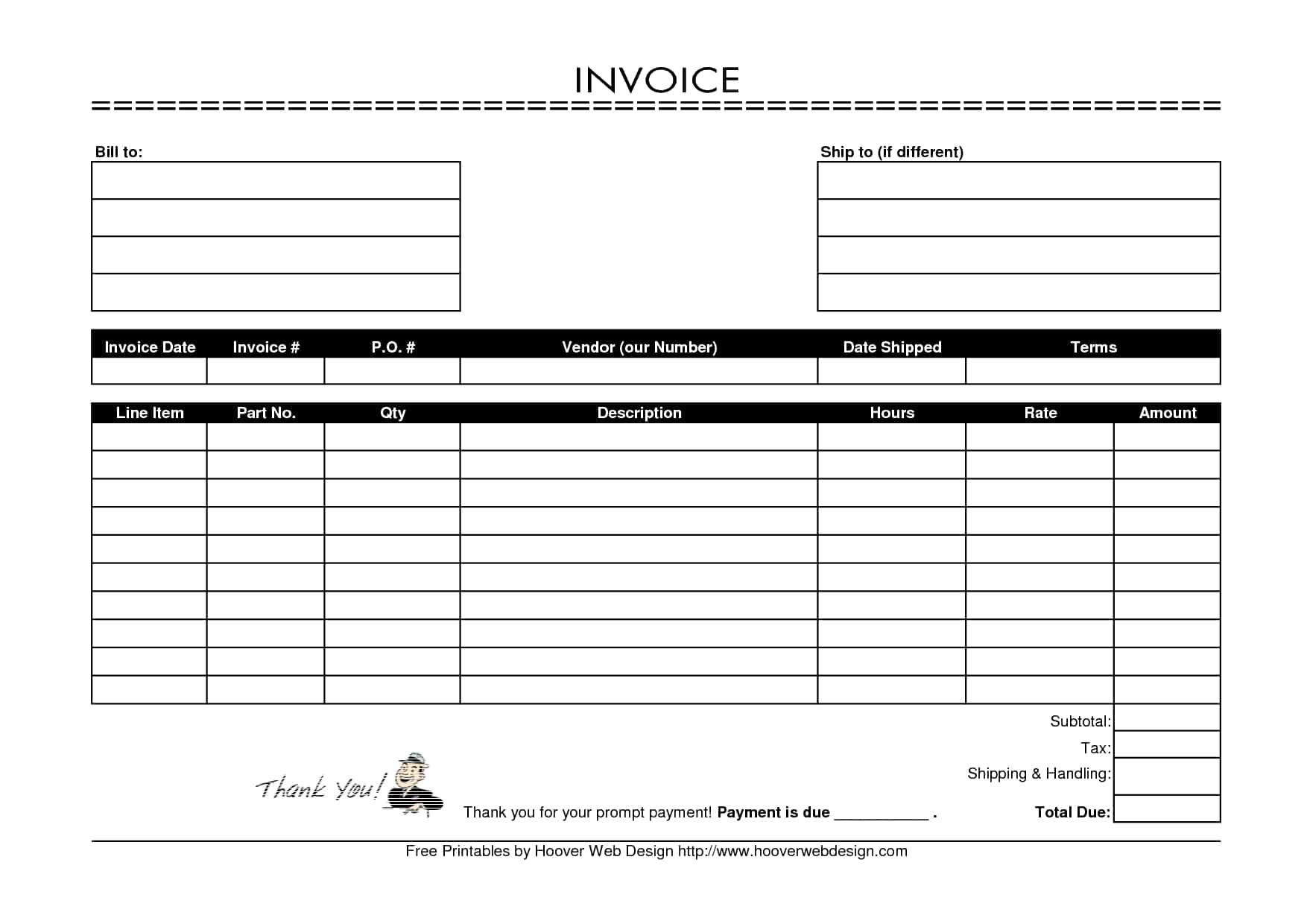 Free Fill In Invoice Form And Blank Invoice Template Word