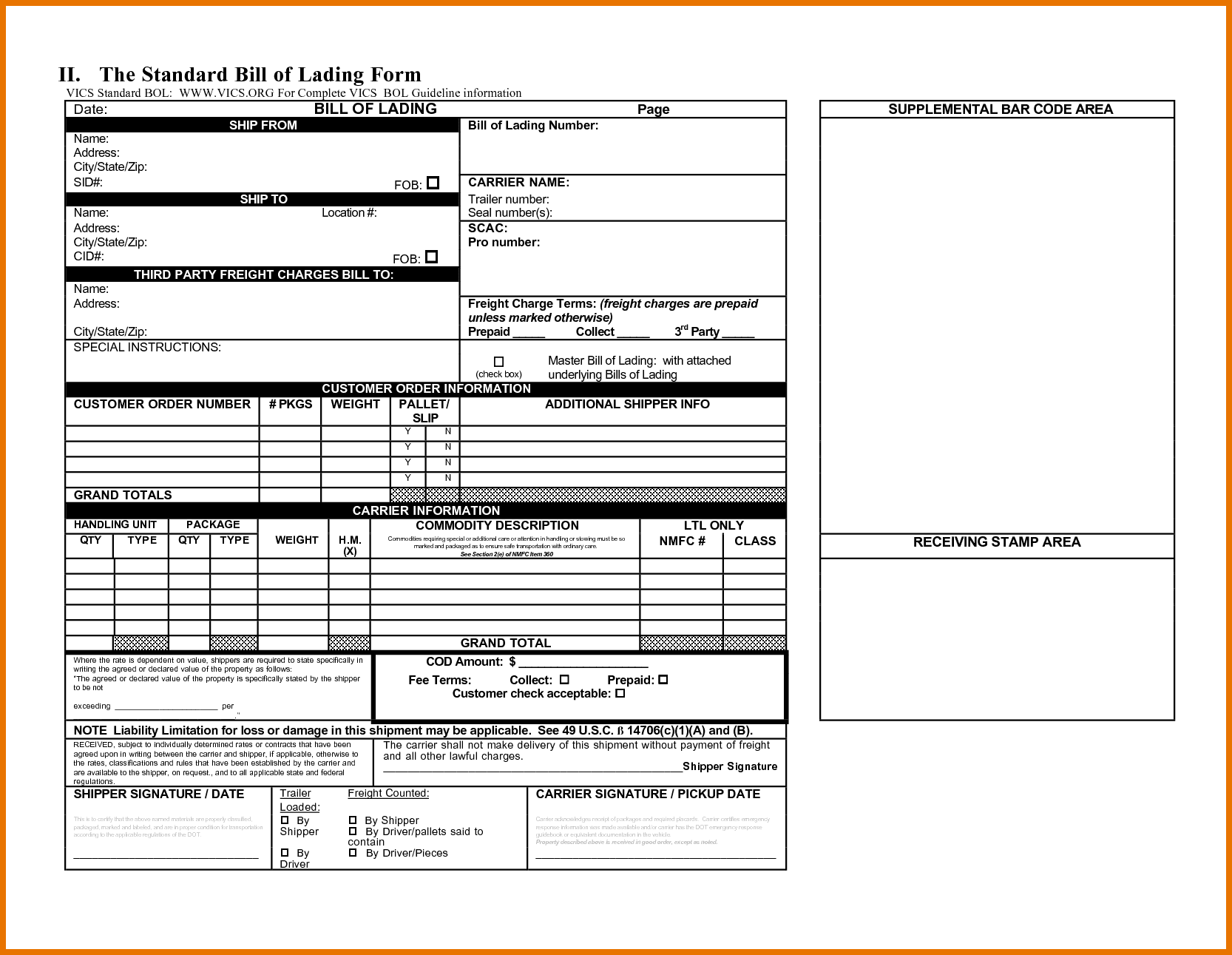 House Bill Of Lading Template And Ocean Bill Of Lading Template