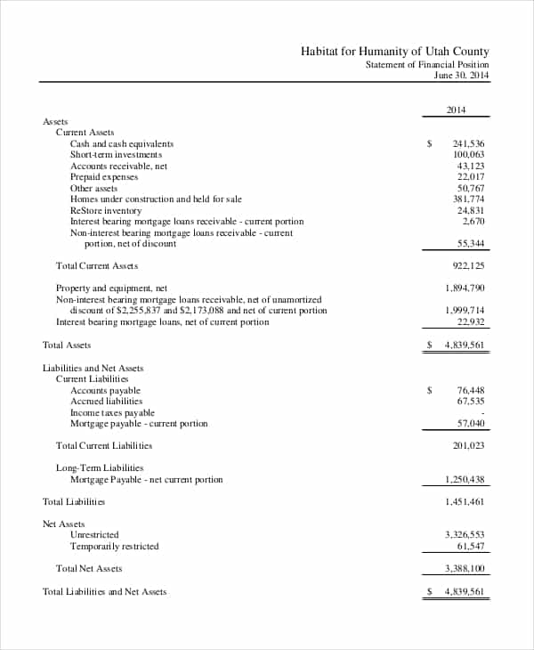 Sample Financial Statements For Not For Profit Organizations And Nonprofit Financial Statements
