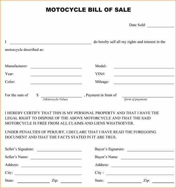 Template For Bill Of Sale For Motorcycle And Bill Of Sale Pdf