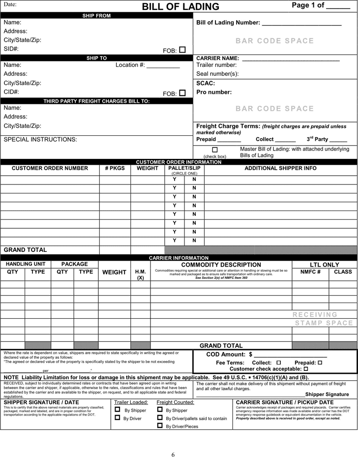 Bill Of Lading Sample Format Document Sample And Bill Of Lading Template Word