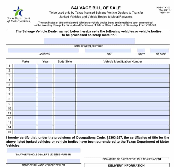 Bill Of Sale Texas Form Car And Bill Of Sale Template Texas Vehicle