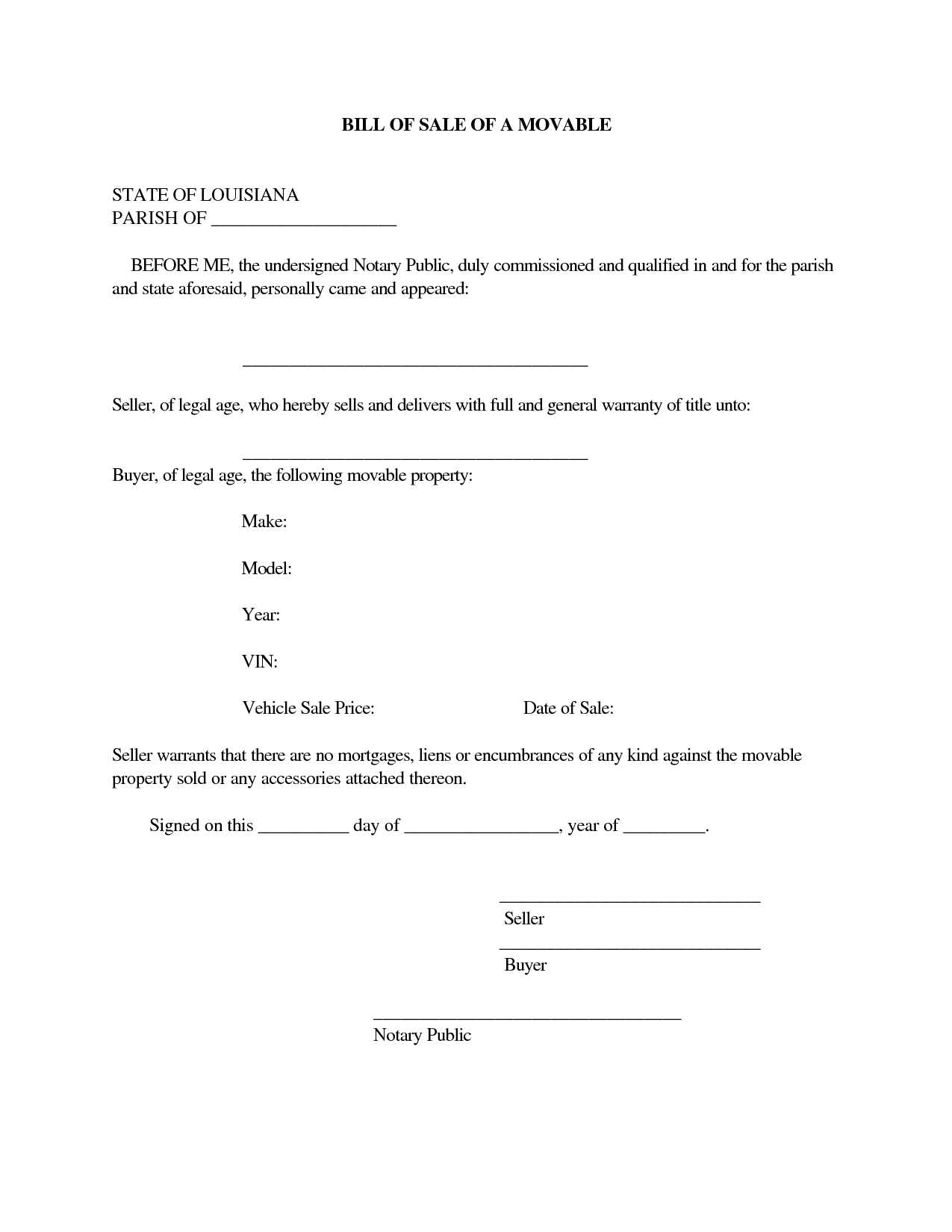 Bill Of Sale Word Template And Notarized Bill Of Sale Pdf
