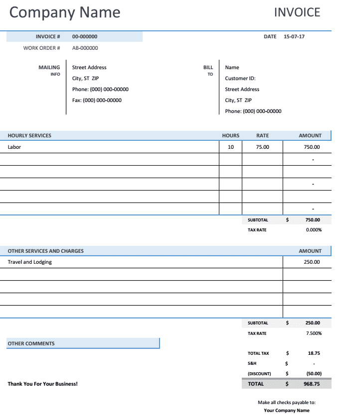 Consultant Billing Template And Consultant Invoice Template Doc