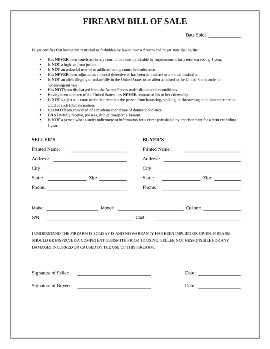Firearm Bill Of Sale Pdf Fillable And Texas Chl Background Check