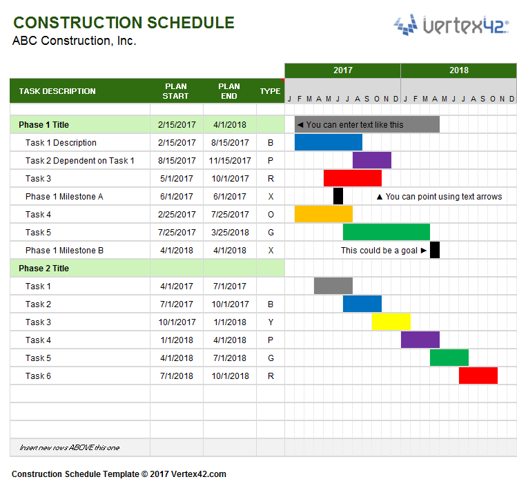 Free Excel Construction Schedule Template Download And Free Excel Residential Construction Schedule Template