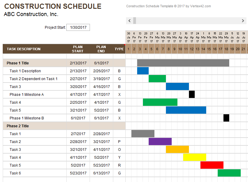 Free Excel Contractor Invoice Templates And Free Excel Commercial Construction Schedule