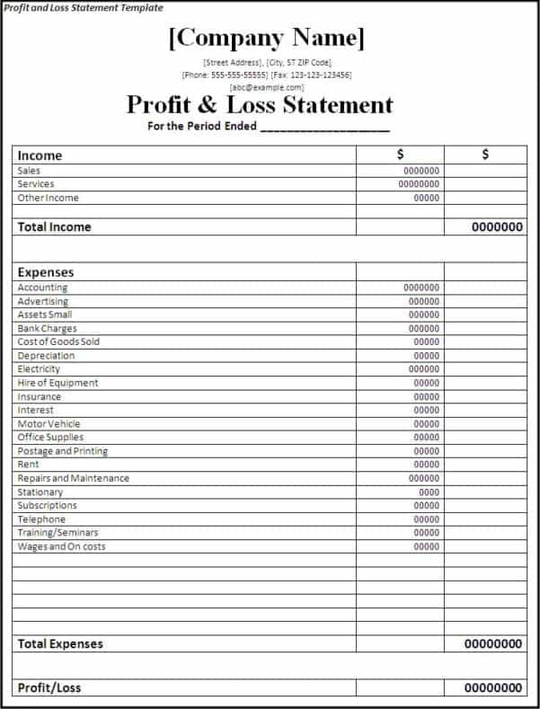 Monthly Income Statement Template And Free Accounting Spreadsheet Templates For Small Business