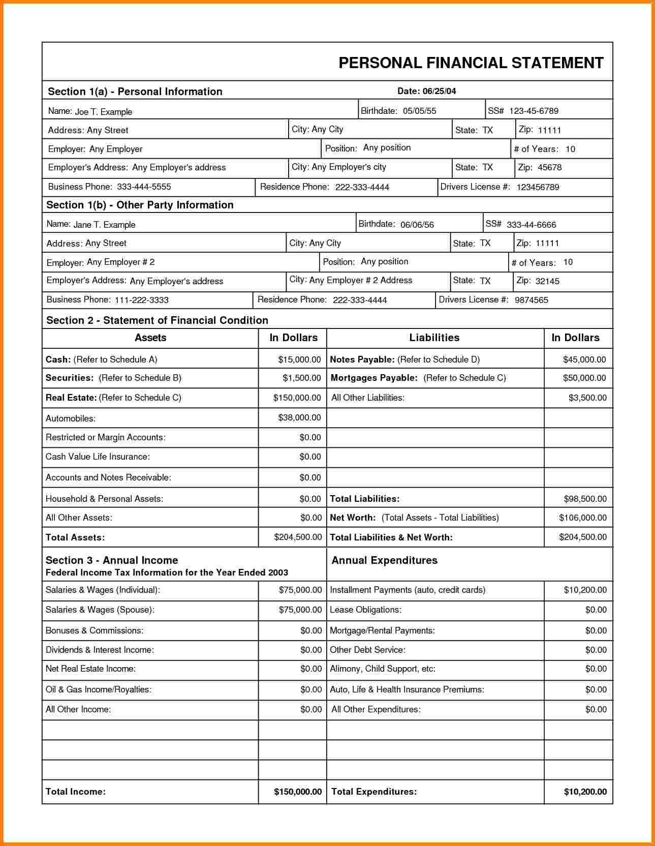 Blank Business Financial Statement Forms And Financial Statement Sample Pdf