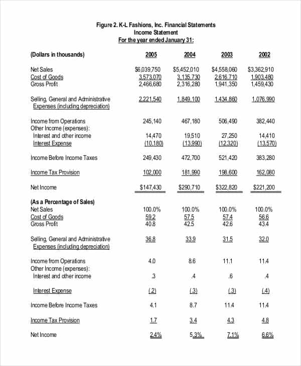Business Financial Statement Pdf And Example Of Financial Data In Business Plan