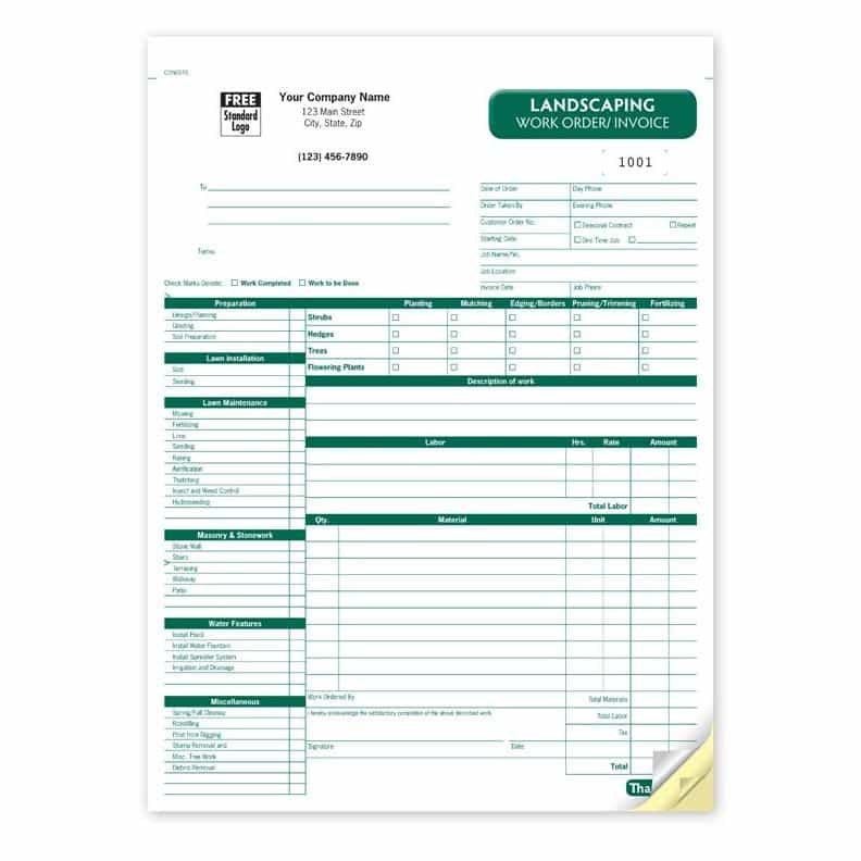 Landscape Invoice Template Excel And Landscaping Invoice Book