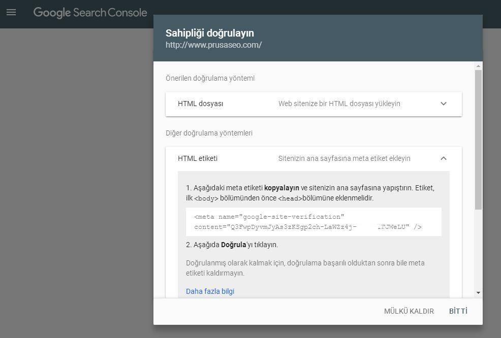 Google Search Console Meta Etiketi Doğrulama