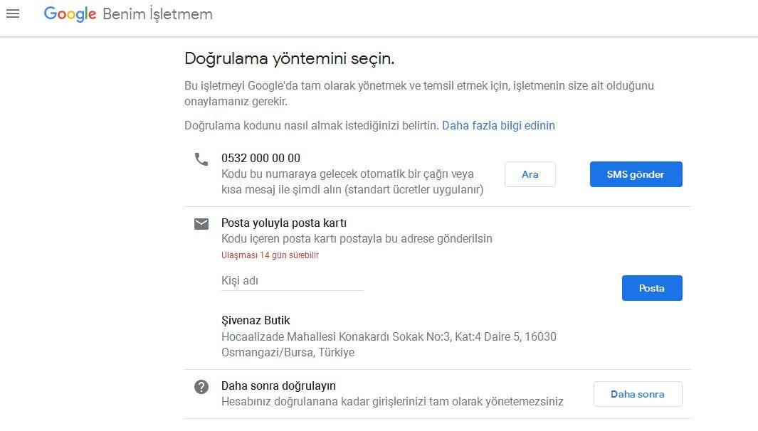 Google Benim İşletmem Doğrulama Yöntemi