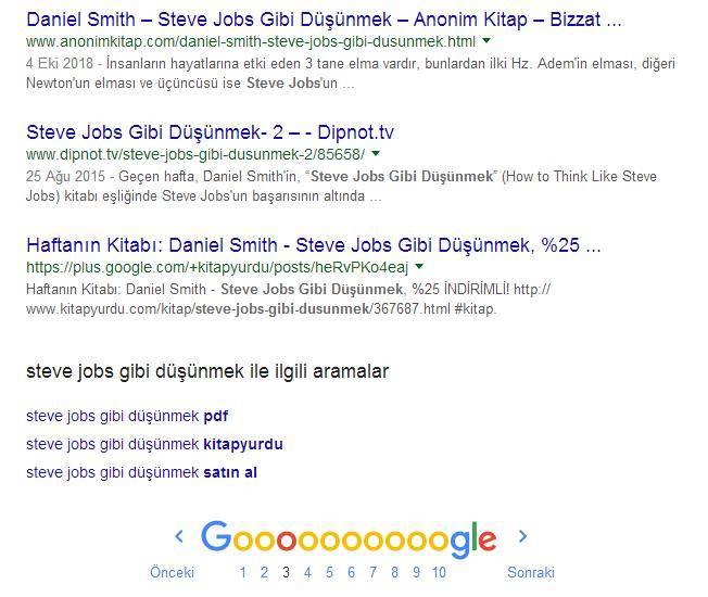 Steve Jobs Gibi Düşünmek Sıralama