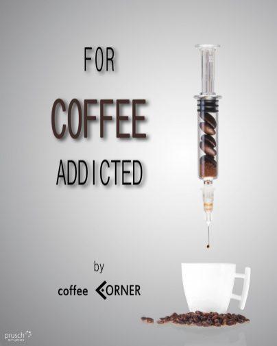 reklama uzależnienia od kawy z filiżanką i ziarnami