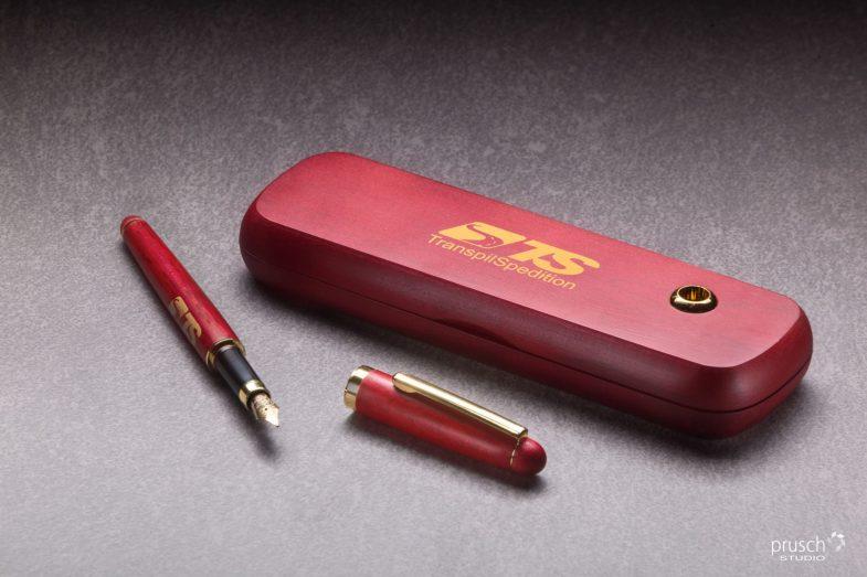 biuro dlugopis pióro komplet w czerwonym drewnianym pudełku 1
