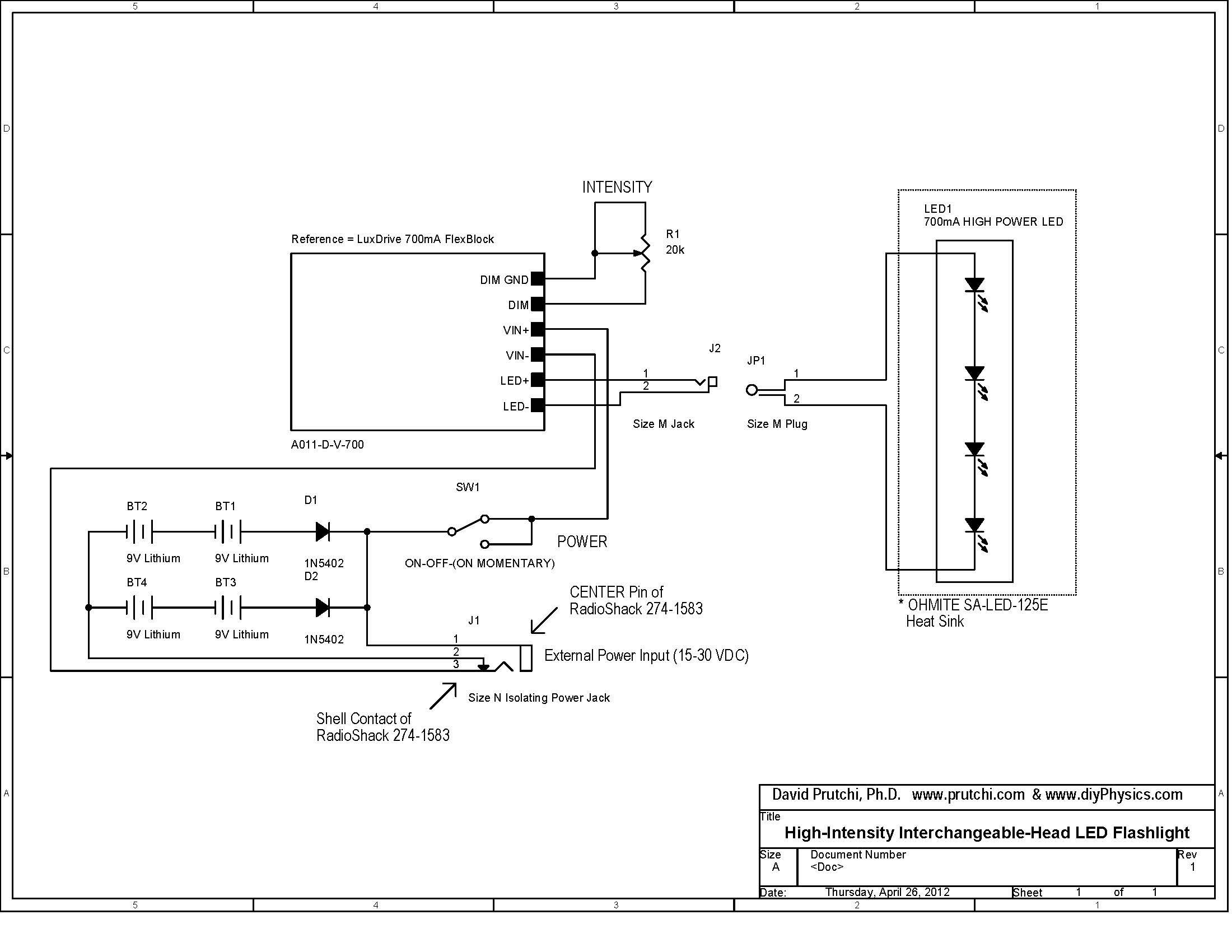circuit diagram for high power UV/IR/visible Flashlight by David Prutchi  PhD www