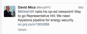 David Mica's tweet about Florida Representative Mike Hill