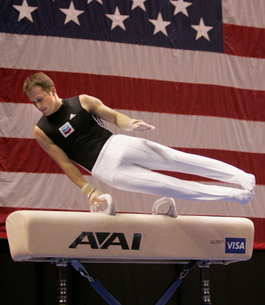 Morgan Hamm on pommel horse at the 2007 U.S. Championships.