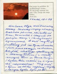 List ks. Tadeusza Fedorowicza do siostry Olgi Fedorowicz, 15.05.1989
